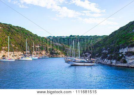 Beautiful view of the port at Bonifacio in Corsica