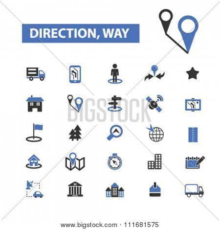 direction, way, location concept, location icons, map icons, map direction, route  icons, signs vector concept set for infographics, mobile, website, application