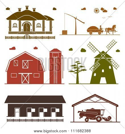 Set of rural architecture objects. House, barn, hangar, windmill, garage for agricultural machines. Agriculture icons.