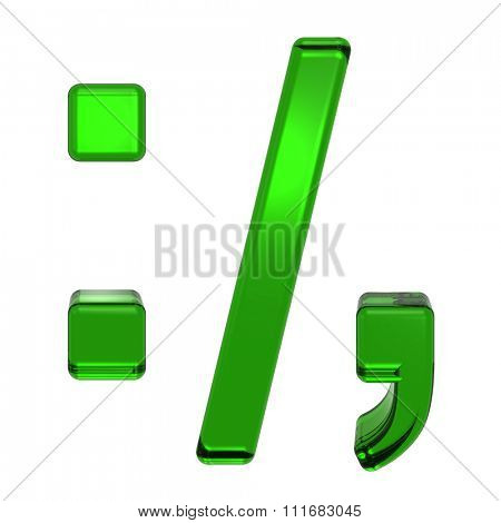 Colon, semicolon, period, comma from emerald alphabet set, isolated on white. Computer generated 3D photo rendering.