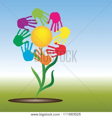 Vector concept conceptual yellow happy abstract sun with children hand print spiral or circle flower isolated on white background, metaphor to childhood, education, summer, spring, play or friendship