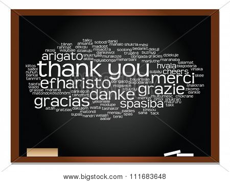 Vector concept or conceptual blackboard thank you word cloud, different languages or multilingual for education or thanksgiving day metaphor to appreciation, multicultural, friendship, tourism travel