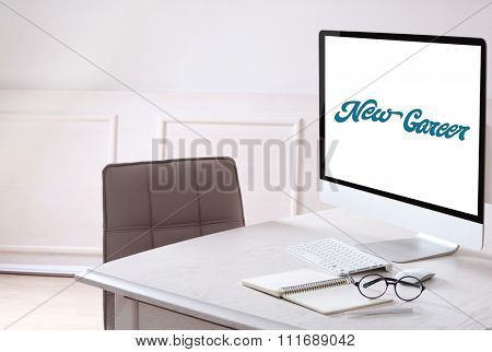 Dream job concept. Office workplace with modern computer