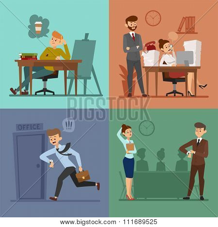 Business work time lag vector illustration. Procrastination concept. People delay, time late business situations cartoon vector. Time delay, time lag, bad workers. Office people stress situation