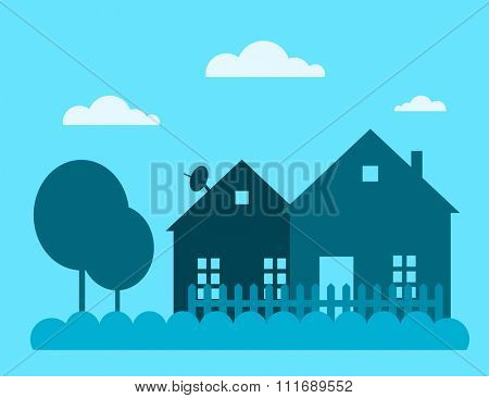 Family house building vector illustration. House building silhouette isolated on background. Cottage home house building. House vector, house building cottage vector. House silhouette. house vector