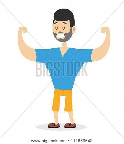Teen power strong man athlete illustration on white background. Cartoon sportsman, man vector. Young bearded man hipster. Vector bearded athlete man isolated. Strong human body. Gym man silhouette