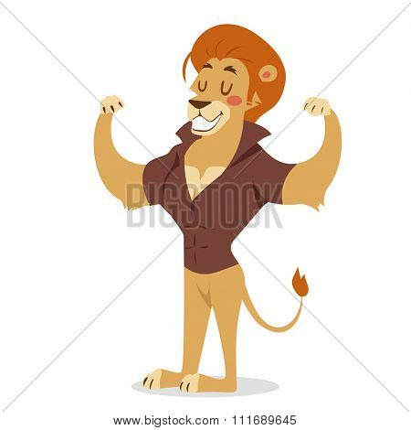 Teen lion power strong man illustration on white background. Cartoon lion sportsman, lion man vector. Lion hipster. Vector lion isolated. Lion like strong man with human body. Gym lion people icon