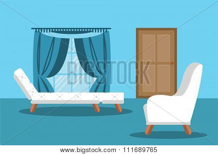Modern living room interior vector illustration. Room background illustration. Vector door, vector sofa. Living room blue colors. Modern living room interior flat style. Modern family interior vector