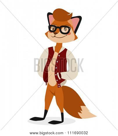Fox boy hipster with glasses vector portrait illustration on white background. Cartoon fox hipster, fox vector. Selfie shot fox teenager boy. Vector fox animal isolated. Fox boy hipster. Fox like boy