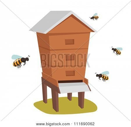 Apiary honey bee house apiary vector illustrations. Apiary vector symbols. Bee, honey, bee house, honeycomb. Honey natural healthy food production. Bee, flowers, beehive and wax vector. Bee house