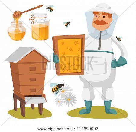 Apiary beekeeper vector illustrations. Apiary vector symbols. Bee, honey, bee house, honeycomb. Honey healthy food production. Man beekeeer costume. Bee, flowers, beehive, wax. Honey bee house apiary