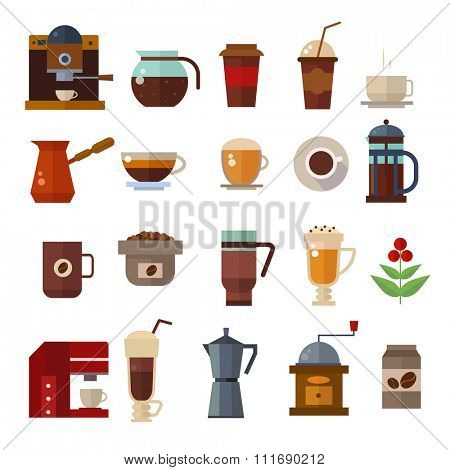 Coffee symbols set. Coffee cup vector icons. Coffee vector icon collection. Coffee maker, coffee bean, coffee cups. Cappuccino, americano, espresso coffee. Coffee icons flat style isolated on white