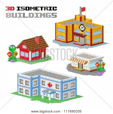 Buildings vector illustration. 3d buildings isolated on white background. Buildings collection. Shop building, hospital building, school building, house building. 3d isometric building constructions