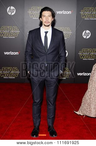 Adam Driver at the World premiere of 'Star Wars: The Force Awakens' held at the TCL Chinese Theatre in Hollywood, USA on December 14, 2015.