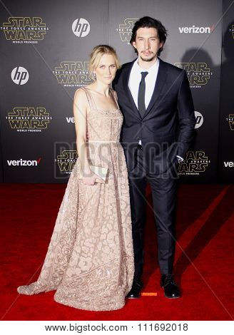 Adam Driver and Joanne Tucker at the World premiere of 'Star Wars: The Force Awakens' held at the TCL Chinese Theatre in Hollywood, USA on December 14, 2015.