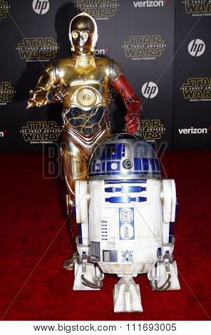 R2D2 and 3-CPO at the World premiere of 'Star Wars: The Force Awakens' held at the TCL Chinese Theatre in Hollywood, USA on December 14, 2015.