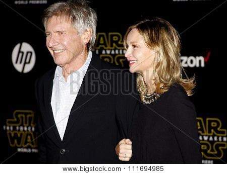 Harrison Ford and Calista Flockhart at the World premiere of 'Star Wars: The Force Awakens' held at the TCL Chinese Theatre in Hollywood, USA on December 14, 2015.
