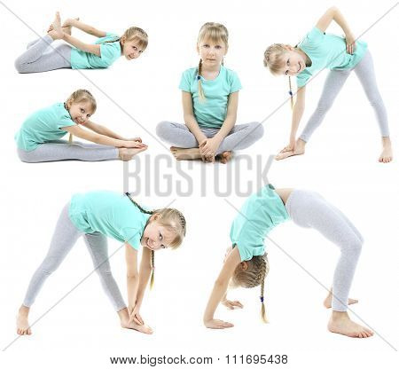 Collage of little girl doing exercises isolated on white