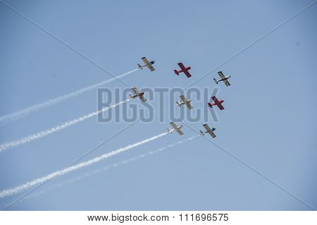 Airplane flying formation