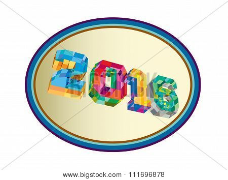 New Year 2016 Oval Low Polygon