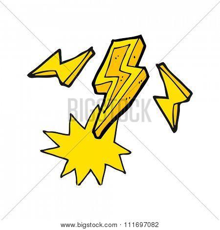 freehand drawn cartoon lightning bolt doodle