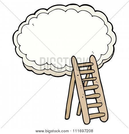 freehand drawn cartoon ladder to heaven