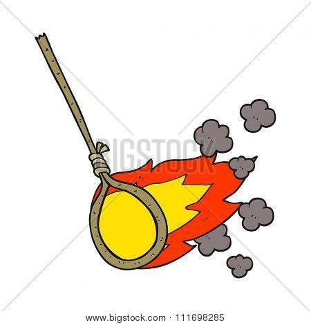 freehand drawn cartoon flaming noose
