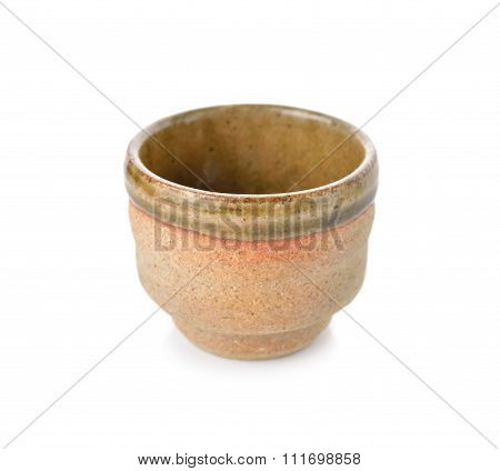 Empty Japanese Tea Cup On White Background