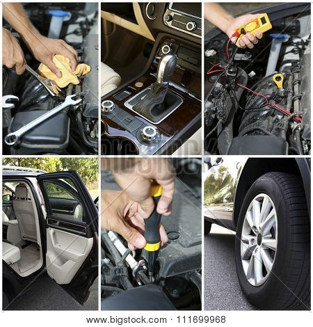 Modern car images and repairing car in details, collage