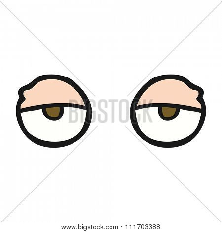 freehand drawn cartoon tired eyes