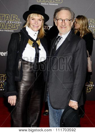 Steven Spielberg and Kate Capshaw at the World premiere of 'Star Wars: The Force Awakens' held at the TCL Chinese Theatre in Hollywood, USA on December 14, 2015.
