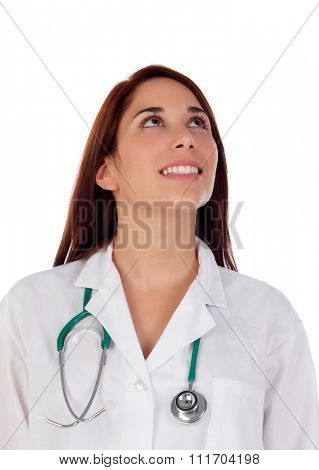 Casual doctor with brown eyes looking up isolated on a white background