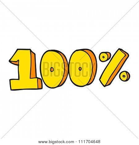 freehand drawn cartoon 100 per cent symbol