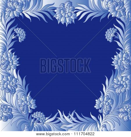 Pattern With A Frame Of Frozen Flowers