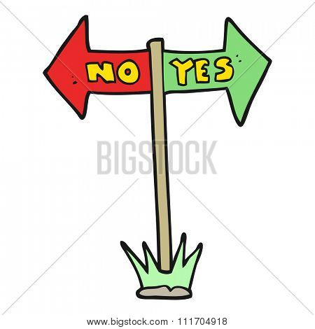 freehand drawn cartoon yes and no sign