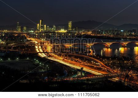 Night Traffic Over Han River In Seoul