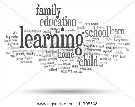 Vector concept or conceptual education abstract word cloud, white background, metaphor to child, family, school, learn, knowledge, home, study, teach, educational, achievement, childhood or teen