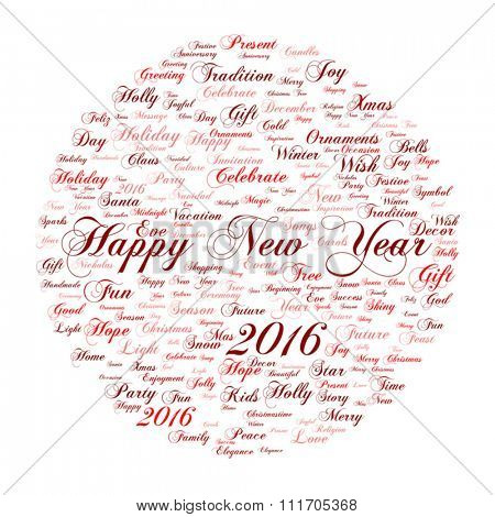 Vector Concept or conceptual red Happy New Year 2016 Christmas abstract holiday word cloud isolated on background metaphor to happy, celebrate, eve, festive, future, joy, december, wish, jolly Santa