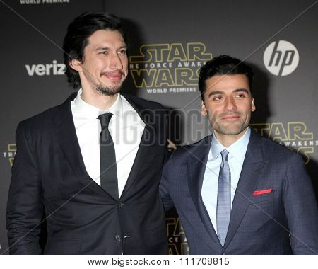 LOS ANGELES - DEC 14:  Adam Driver, Oscar Isaac at the Star Wars: The Force Awakens World Premiere at the Hollywood & Highland on December 14, 2015 in Los Angeles, CA