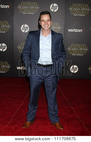 LOS ANGELES - DEC 14:  Daniel Logan at the Star Wars: The Force Awakens World Premiere at the Hollywood & Highland on December 14, 2015 in Los Angeles, CA