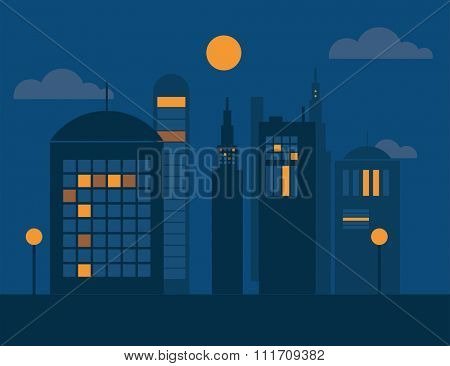 Vector cities silhouette. Dark night cities silhouette. Cities silhouette small town, cityscape buildings. Night city silhouette, city vector illustration. Skyscrapers silhouette. Business center city