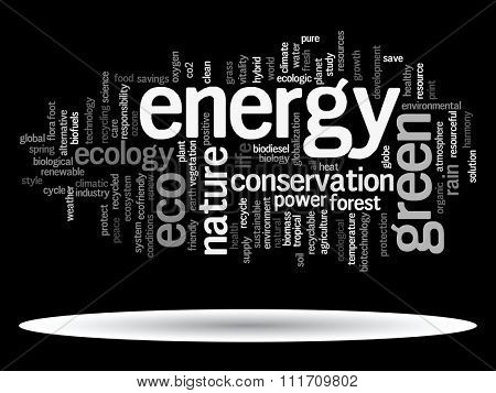Concept or conceptual abstract green ecology, conservation word cloud text, black background, metaphor to environment, recycle, earth, alternative, protection, energy, eco friendly or bio