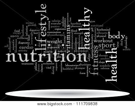 Concept or conceptual abstract word cloud on black background, metaphor to health, nutrition, diet, wellness, body, energy, medical, fitness, medical, gym, medicine, sport, heart science