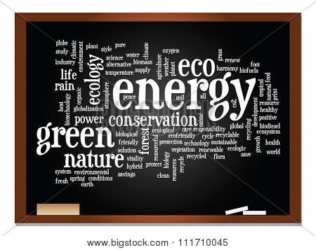 Concept or conceptual abstract green ecology, conservation word cloud text, blackboard background, metaphor to environment, recycle, earth, alternative, protection, energy, eco friendly or bio