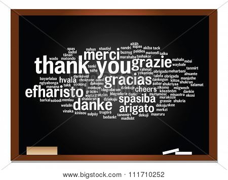 Concept or conceptual blackboard thank you word cloud, different languages or multilingual for education or thanksgiving day  metaphor to appreciation, multicultural, friendship, tourism travel