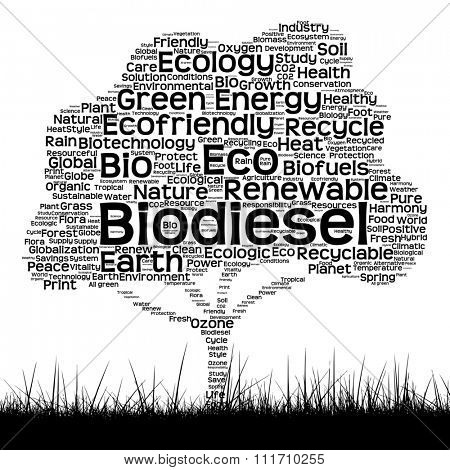 Concept or conceptual black ecology text word cloud as tree and grass isolated on white background  for nature, ecology, green, energy, natural, life, world, global, protect, environmental recycling