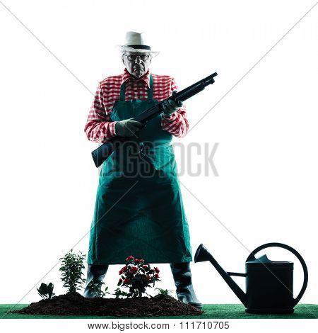 one caucasian man gardener man gardening silhouette isolated on white backgound