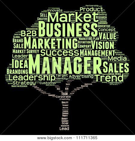Concept conceptual green tree leadership marketing business word cloud isolated on black background for business, trend, media, focus, market, value, product, advertising leadership customer corporate