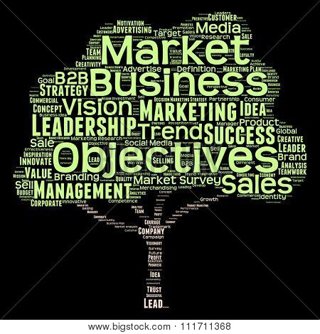 Concept or conceptual green tree leadership marketing business word cloud isolated on black for business, trend, media, focus, market, value, product, advertising, leadership customer corporate