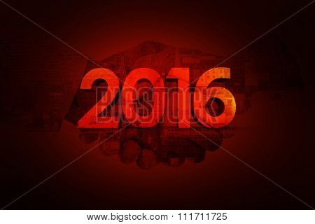 2016 graphic against red background with vignette